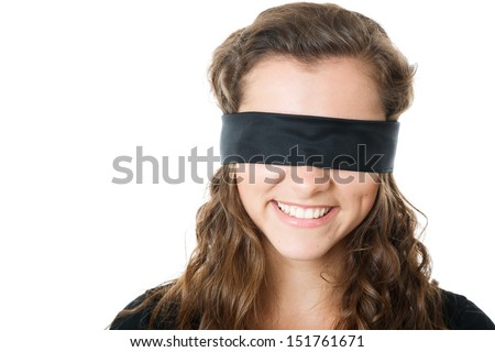 young female with black blindfold smiling closeup isolated on white - stock photo