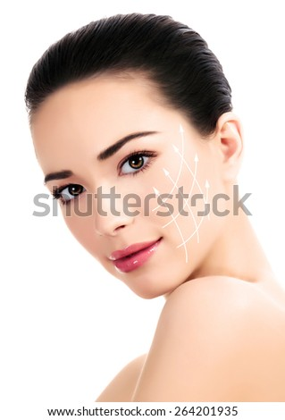 Young female with clean fresh skin, antiaging concept  - stock photo