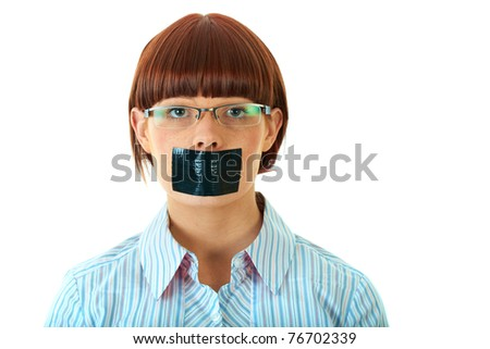 young female with duct tape on her lips, isolated on white - stock photo