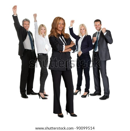 Young female with her business colleagues celebrating success at back on white background - stock photo