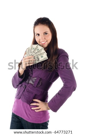 Young female with pile of banknotes (isolated) - stock photo