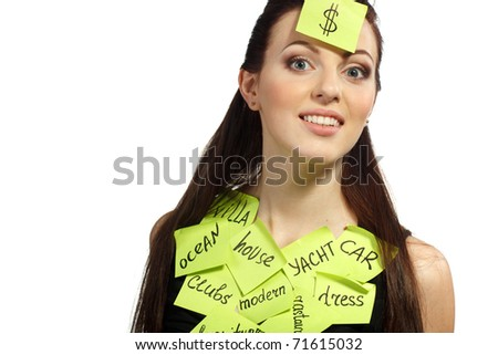 Young female with thoughts about money - stock photo