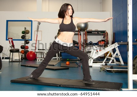young female working out in the gym - stock photo