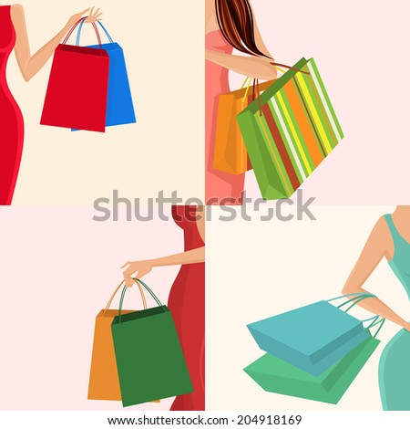 Young females holding shopping bags in hands decorative elements set isolated  illustration - stock photo