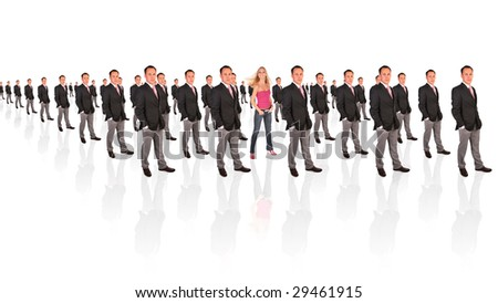 young feminist woman and businessman formation collage