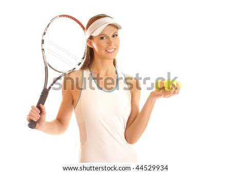 Young fit tennis player isolated over white background - stock photo