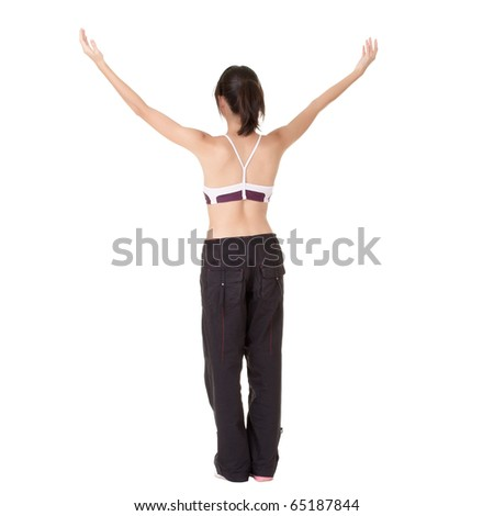 Young fit woman raised hand and feel free isolated over white background. - stock photo