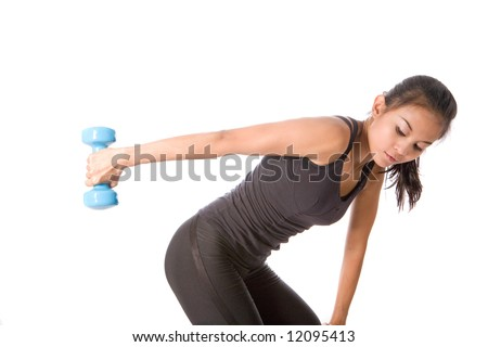 Young fitness female lifting dumbell in arm to strengthen arm muscle