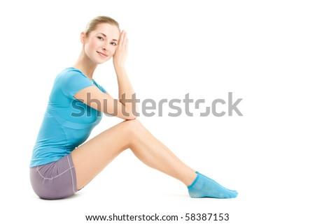 young fitness girl, posing over white, studio shot - stock photo
