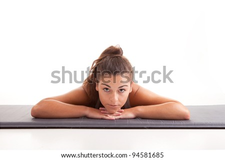 Young fitness instructor, isolated over a white background - stock photo