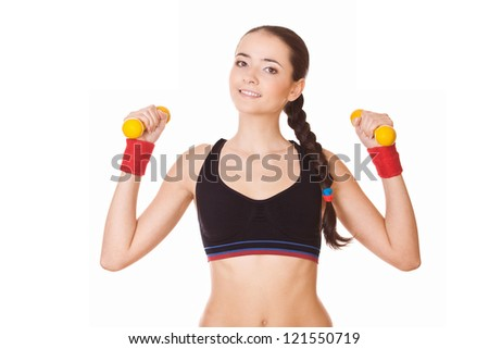 young fitness woman lifting dumbbells, isolated on white - stock photo