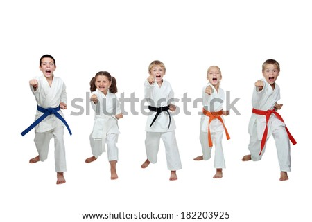 Young five athletes are hitting a punch hand - stock photo
