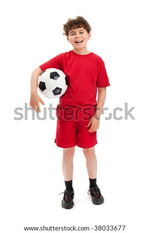 Young football player isolated on white background - stock photo