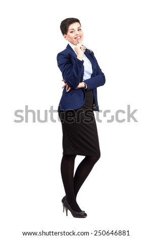 Young formal business woman holding glasses in mouth.  Full body length portrait isolated over white background. - stock photo