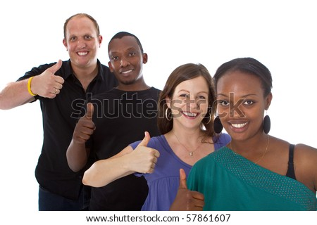 Young fresh multiracial group giving thumbs up sign and are really happy. - stock photo