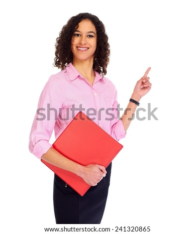 Young friendly business woman isolated white background - stock photo