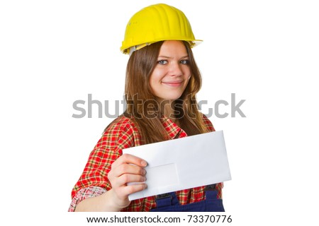 Young friendly craftswoman isolated on white background - stock photo