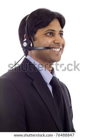 Young friendly male customer service operator