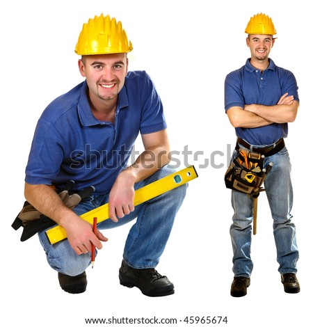 Young friendly manual worker isolated on white. Crouch & standing version - stock photo