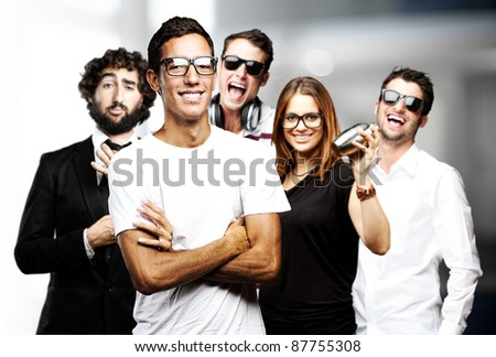young friends group joying and joking indoor - stock photo