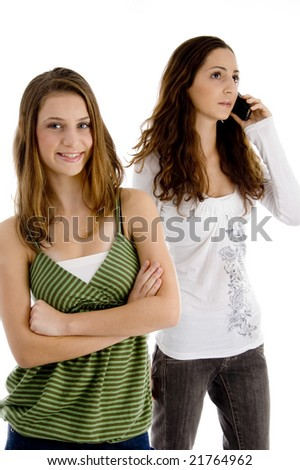 young friends having fun on an isolated background - stock photo