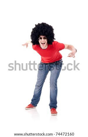 young funky man with red tshirt posing for the camera - stock photo