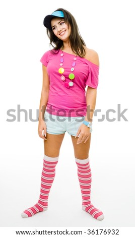 Young funny woman wearing teenager party costume,isolated on white - stock photo