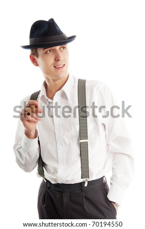 young gangster man with cigare on white background - stock photo