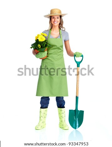 Young gardener woman. Isolated over white background. - stock photo