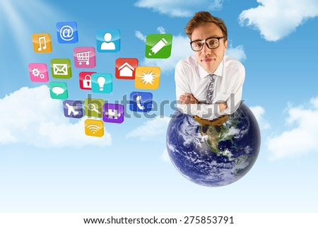 Young geeky businessman looking at camera against blue sky - stock photo