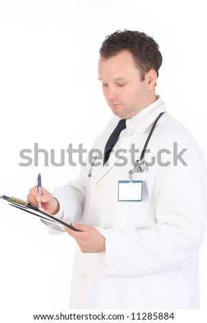 Young gentle doctor write his notices on patient hospital log
