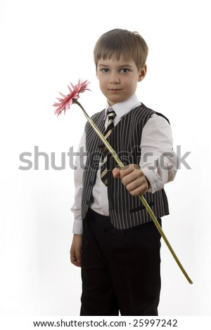 Young gentleman with pink flower isolated on white
