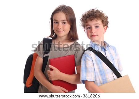 Young girl and boy  ready for school - stock photo