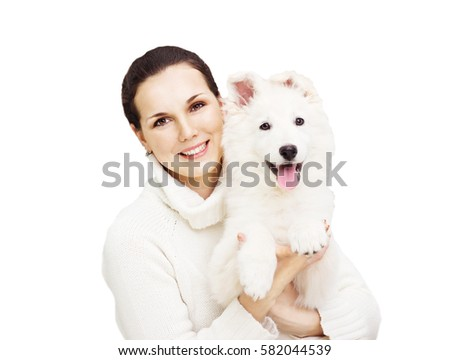 young girl and puppy Berger Blanc Suisse