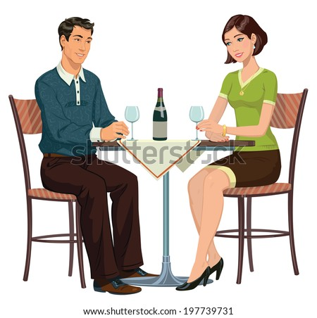 young girl and young man sitting in a cafe and drinking wine - stock photo