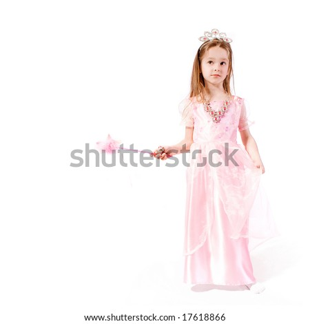 Young girl as witch on white background