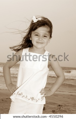 Young Girl at Beach Sepia
