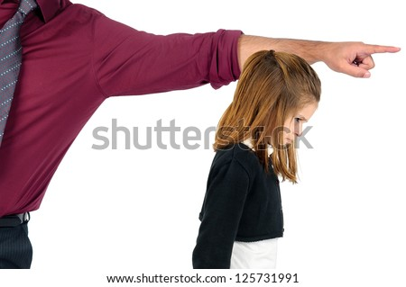 Young girl being grounded by her father - stock photo