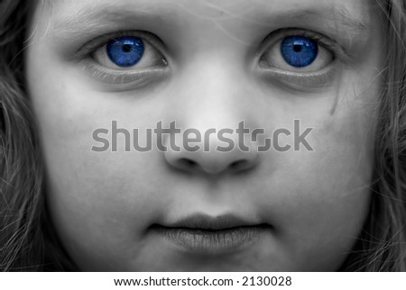 young girl: black and white with blue eyes colorization - stock photo