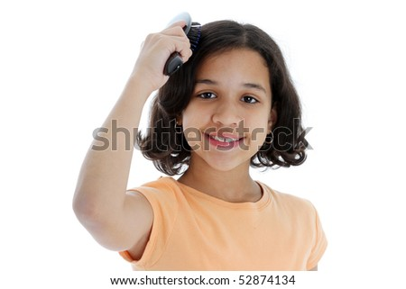 Young Girl Brushing Her Hair On White Background