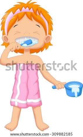 Young girl brushing teeth - stock photo