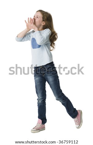 Young girl calling with hands raised to mouth - stock photo
