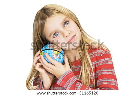 young girl care about the world - stock photo