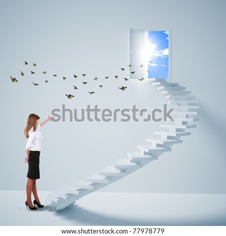young girl climbs the ladder of success and a virtual career. Collage. - stock photo