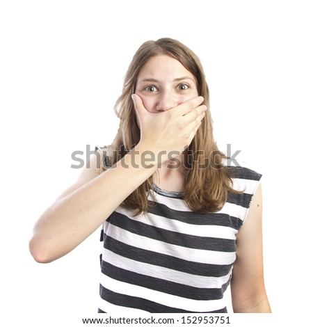 young girl cover mouth - stock photo