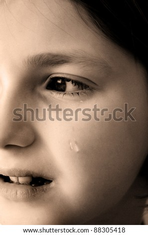 Young girl crying with tear rolling down cheek of face - stock photo