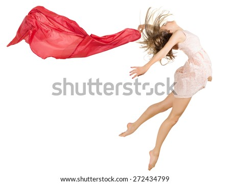 Young girl dancer isolated on white - stock photo