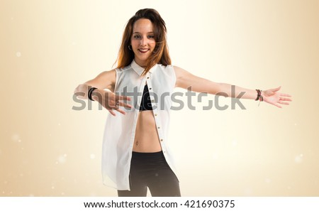 Young girl dancing - stock photo
