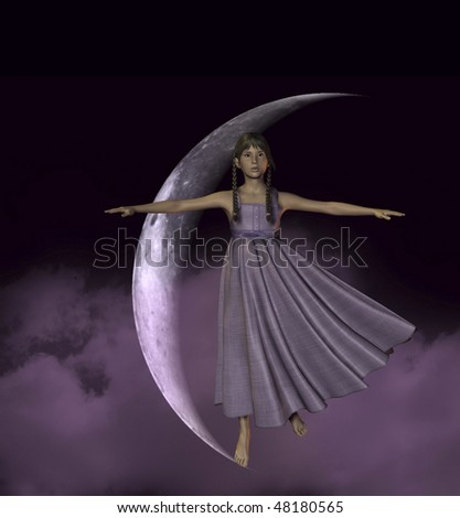 Young girl dancing on the tip of the Moon - stock photo