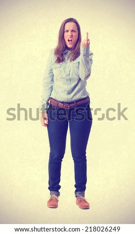 young girl disagree gesture. isolated - stock photo